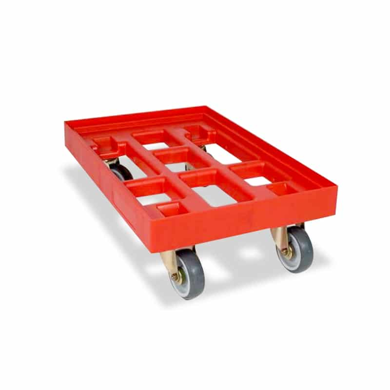 Plastic Dolly with Grid Base - 610x410x150 mm - Red