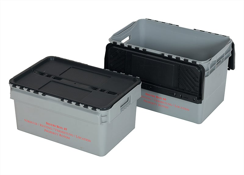Plastic Distribution Box with Lid - 600x400x374 mm - 60L, Nestable