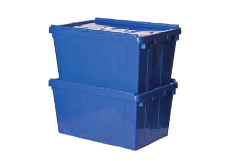Attached Lid Tote Box - 600x400x335 mm - 55L, Nestable
