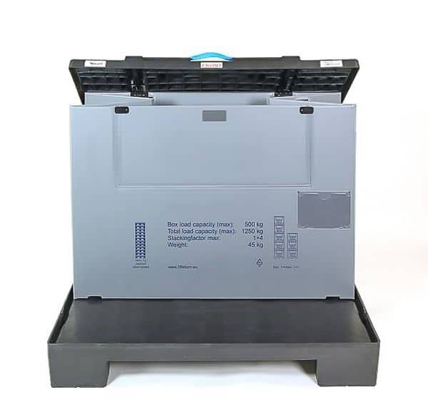 Plastic Pallet Box - 1230x830x980 mm - Smartbox M, Collapsible, 500 kg Load Capacity