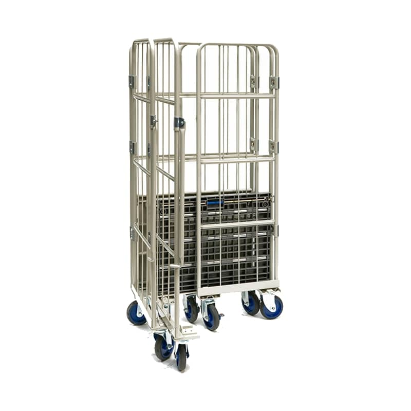 Prestar Folding Roll Container with Plastic Base - 800x600x1700 mm
